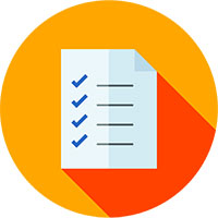Image of white check list in orange circle