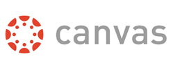 Canvas logo, orange circle with dots and gray Canvas text